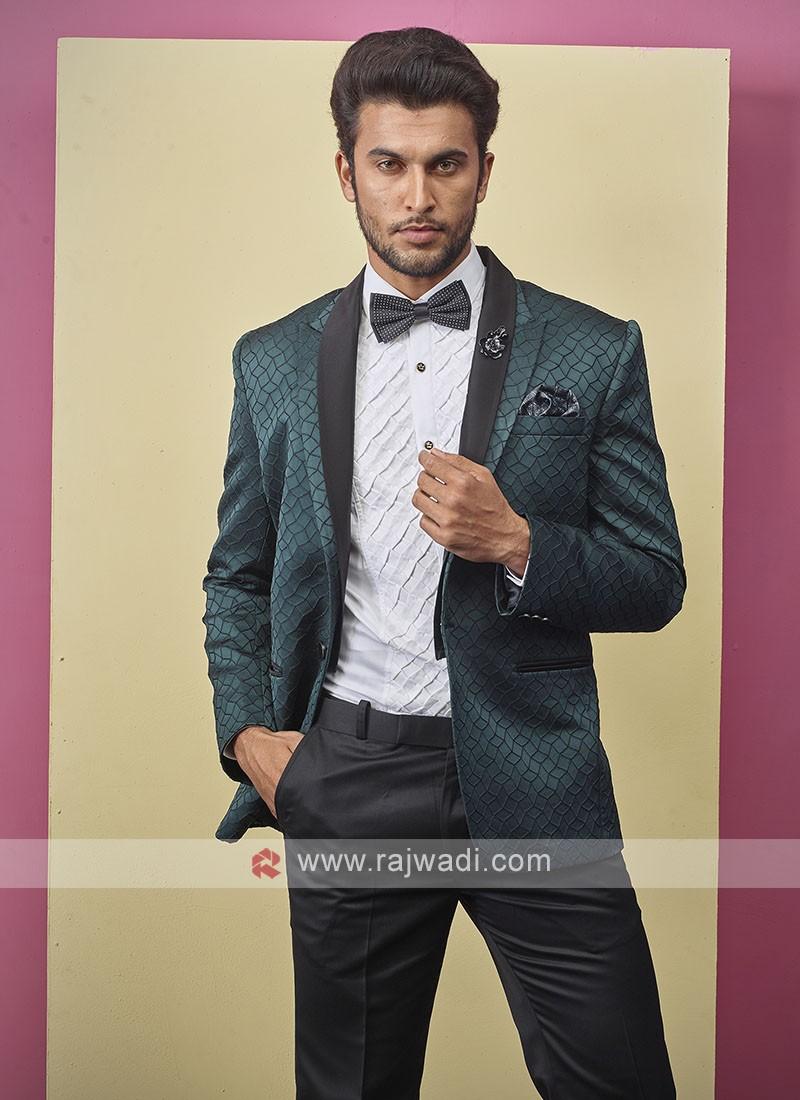 stylish brocade silk green color suit