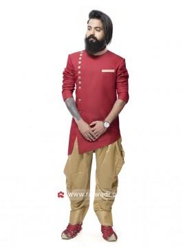 Stylish Red Silk Indo Western