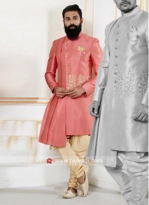 Designer Peach Color Indo Western