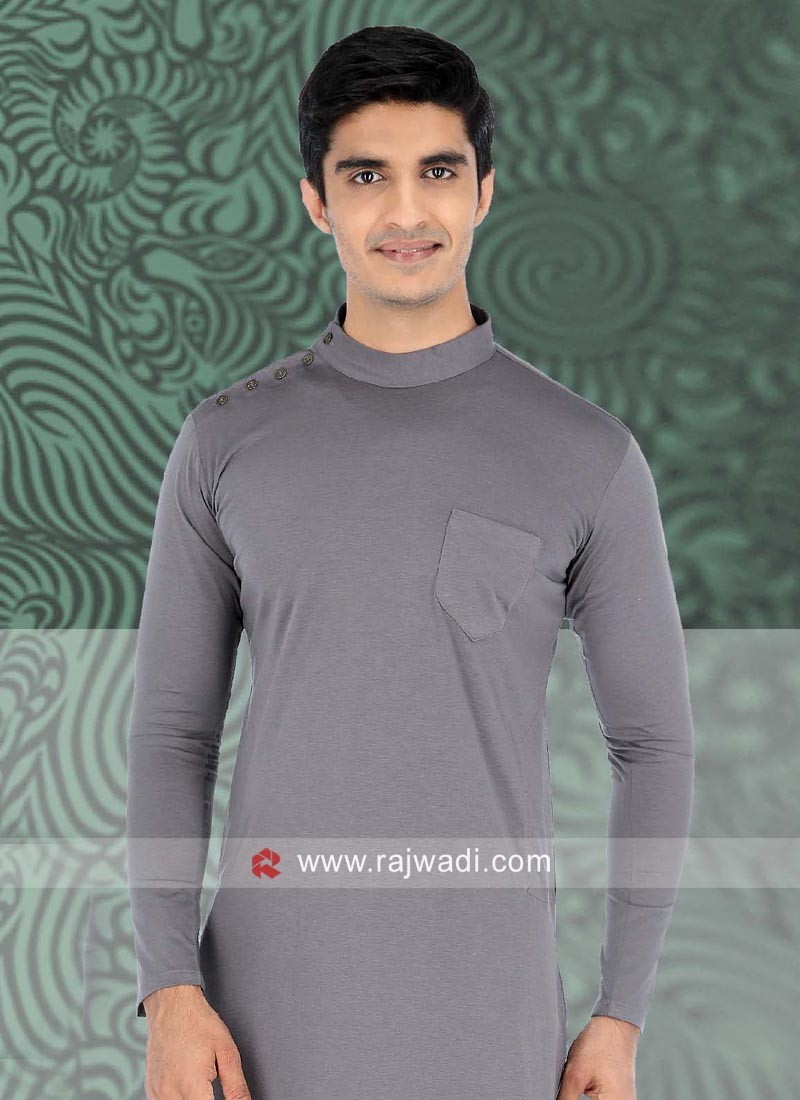 Silver Color Linen Kurta