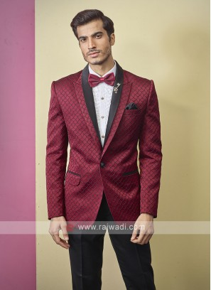 stylish brocade silk red color suit