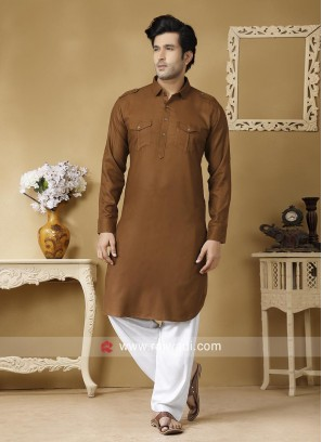 Stylish Brown Color Pathani Suit