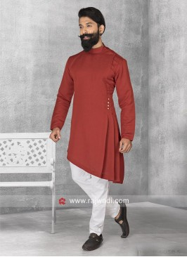 Stylish Maroon Color Pathani Suit
