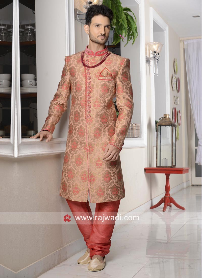 Stylish Coral Color Indo Western