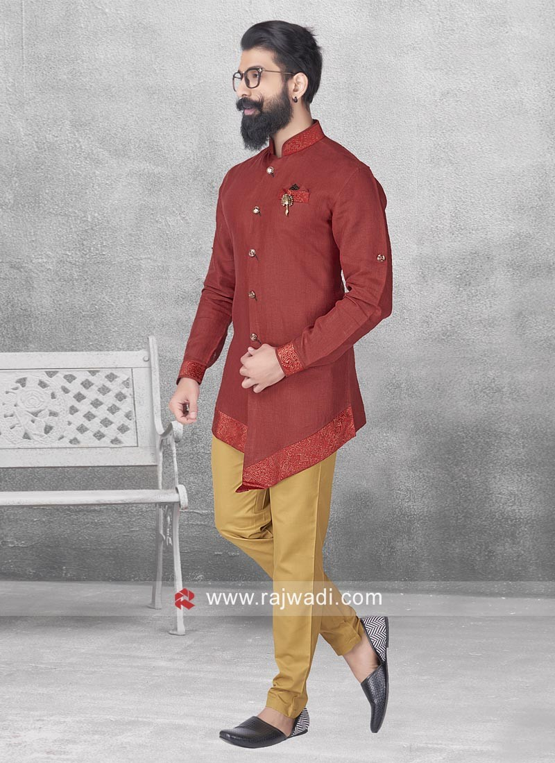 Stylish Maroon Color Pathani Set