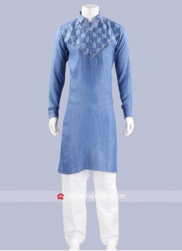 Stylish Corn Flower Blue Pathani Set