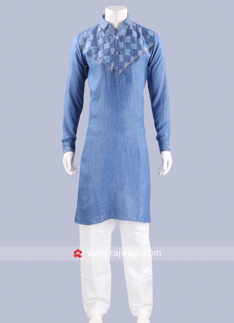 Stylish Corn Flower Blue Pathani Set