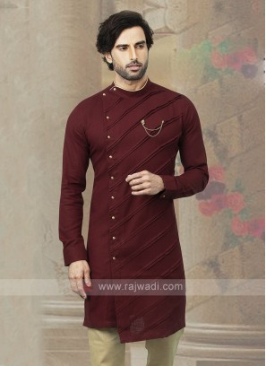 Stylish Cotton Kurta In Maroon