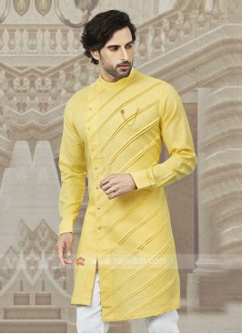 Stylish Cotton Kurta In Yellow