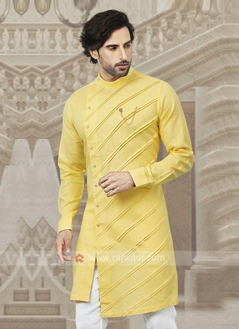 Stylish Cotton Kurta In Yellow