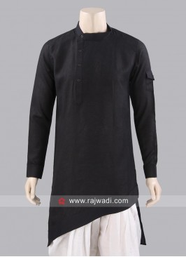 Stylish Cotton Silk Black Kurta