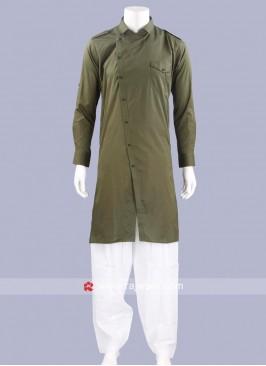 Stylish Cotton Silk Fabric Pathani Suit
