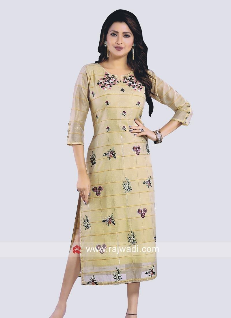 Stylish Cotton Silk Kurti with Sleeves