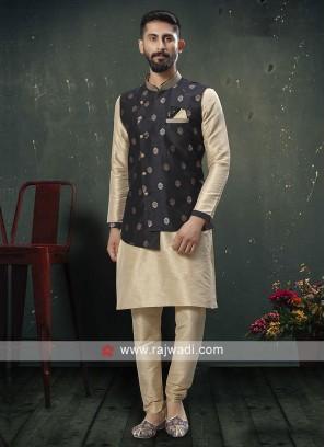 Stylish Cream and Black Nehru Jacket