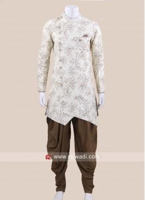 Stylish Cream Color Patiala Suit