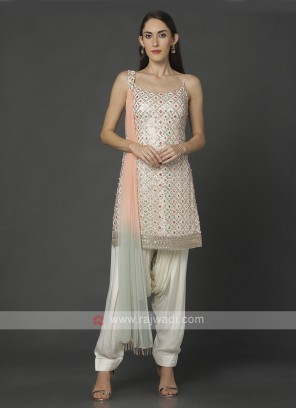 Stylish Cream Color Patiala Suit