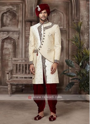 Stylish Cream Color Sherwani