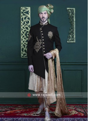Stylish Black Color Indo Western For Wedding