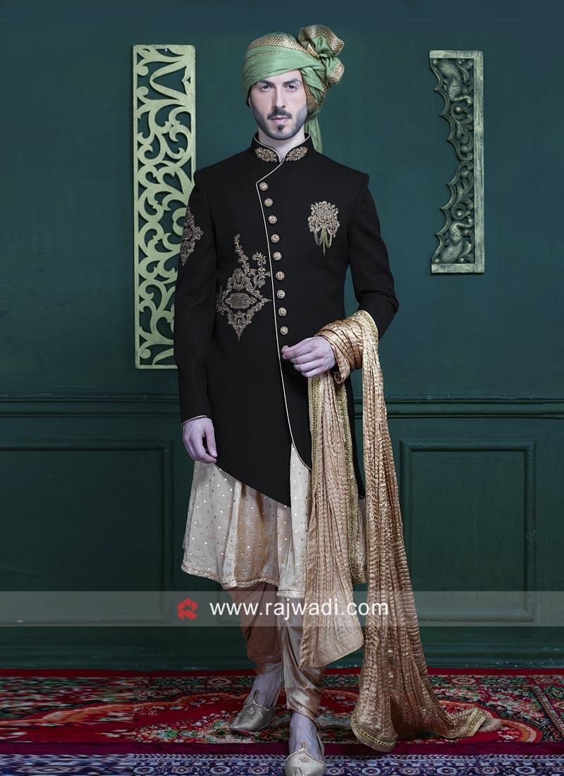 Stylish Black Color Indo Western For Wedding