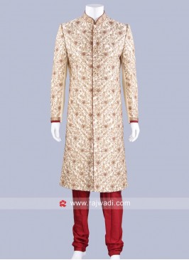 Stylish Cream Color Sherwani For Wedding