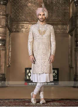Stylish Cream Color Wedding Sherwani