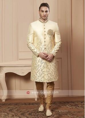 Stylish cream colour sherwani