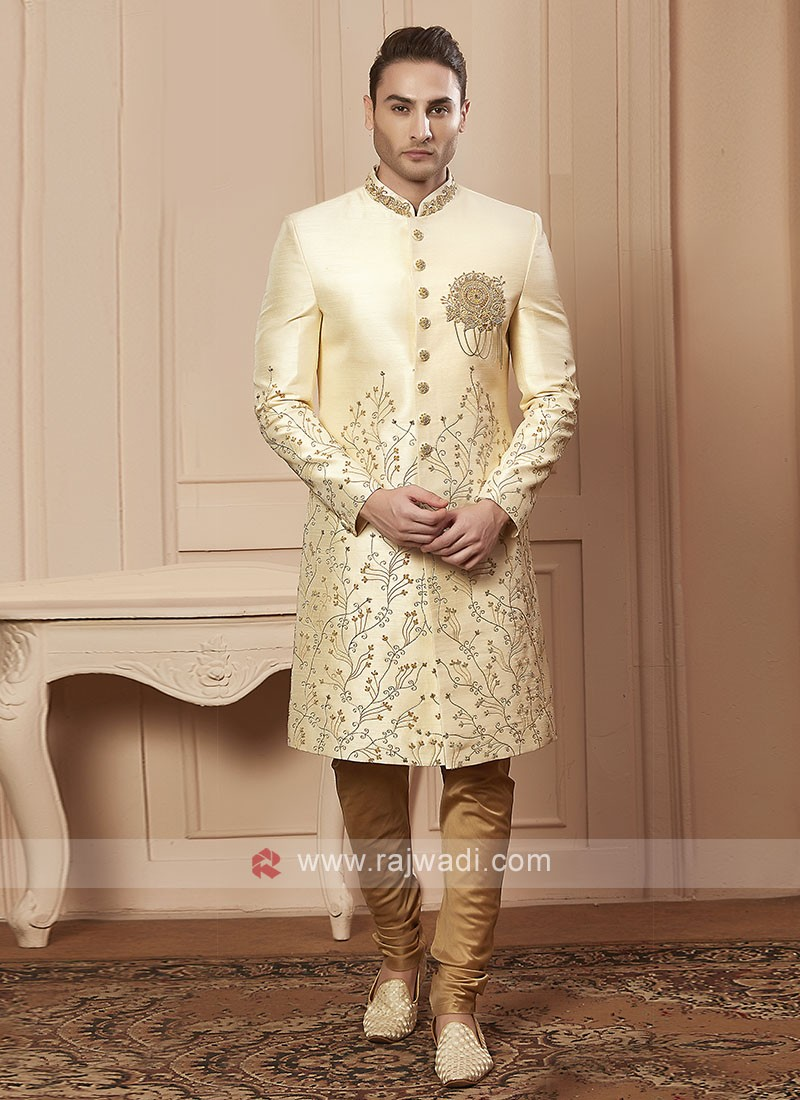 Stylish cream colour sherwani