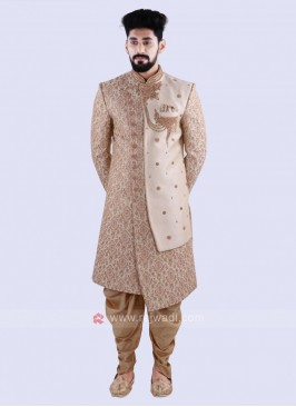Stylish Cream & Golden Sherwani For Groom