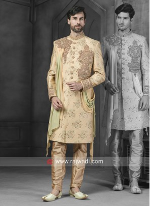 Stylish Cream Patch Work Sherwani