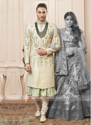 Stylish cream and pista colour sherwani