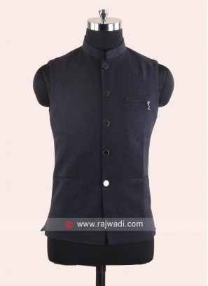 Stylish Dark Grey Koti With Fancy Buttons