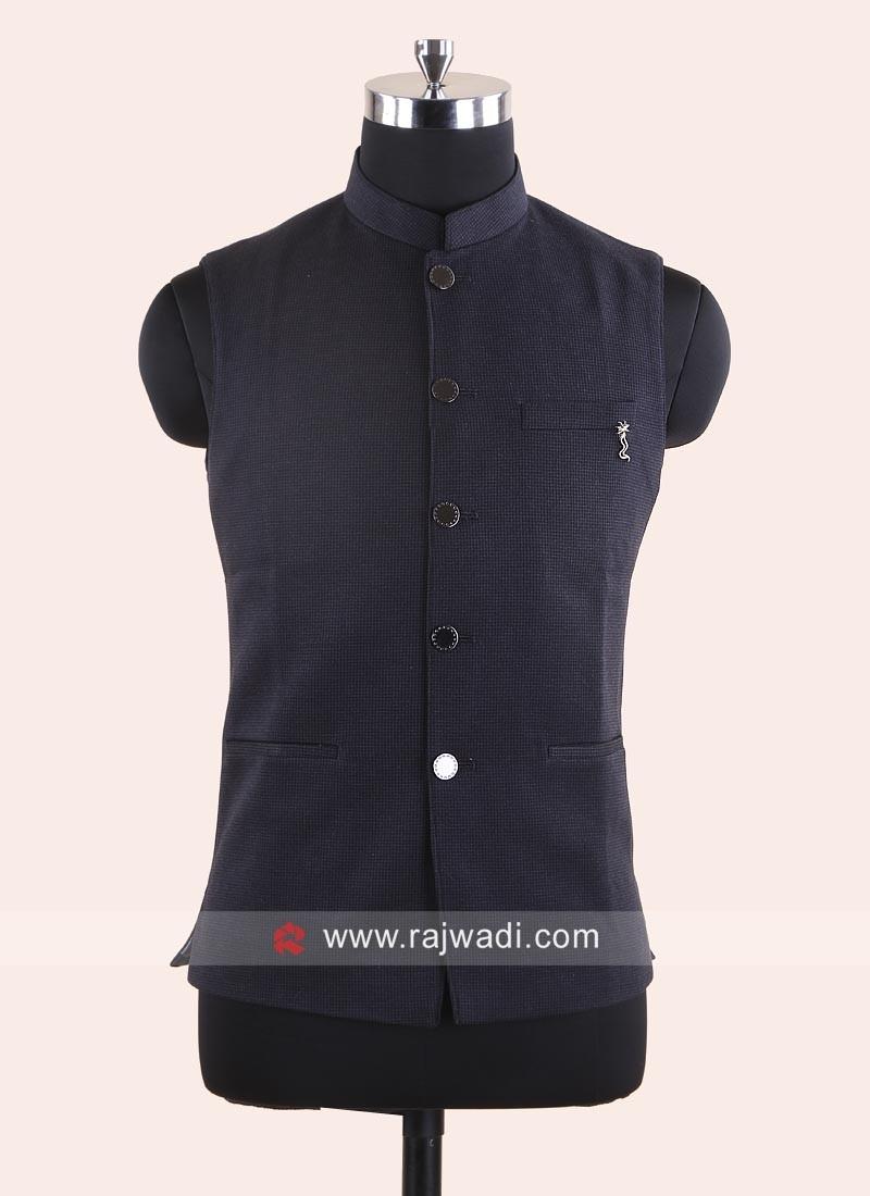Stylish Dark Grey Koti With Fancy Buttons