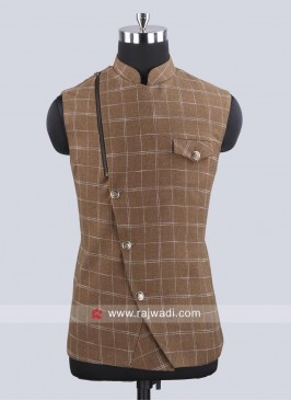 Stylish Dark Khaki Koti With Fancy Buttons
