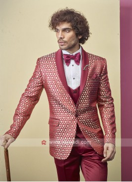 stylish deep pink color suit