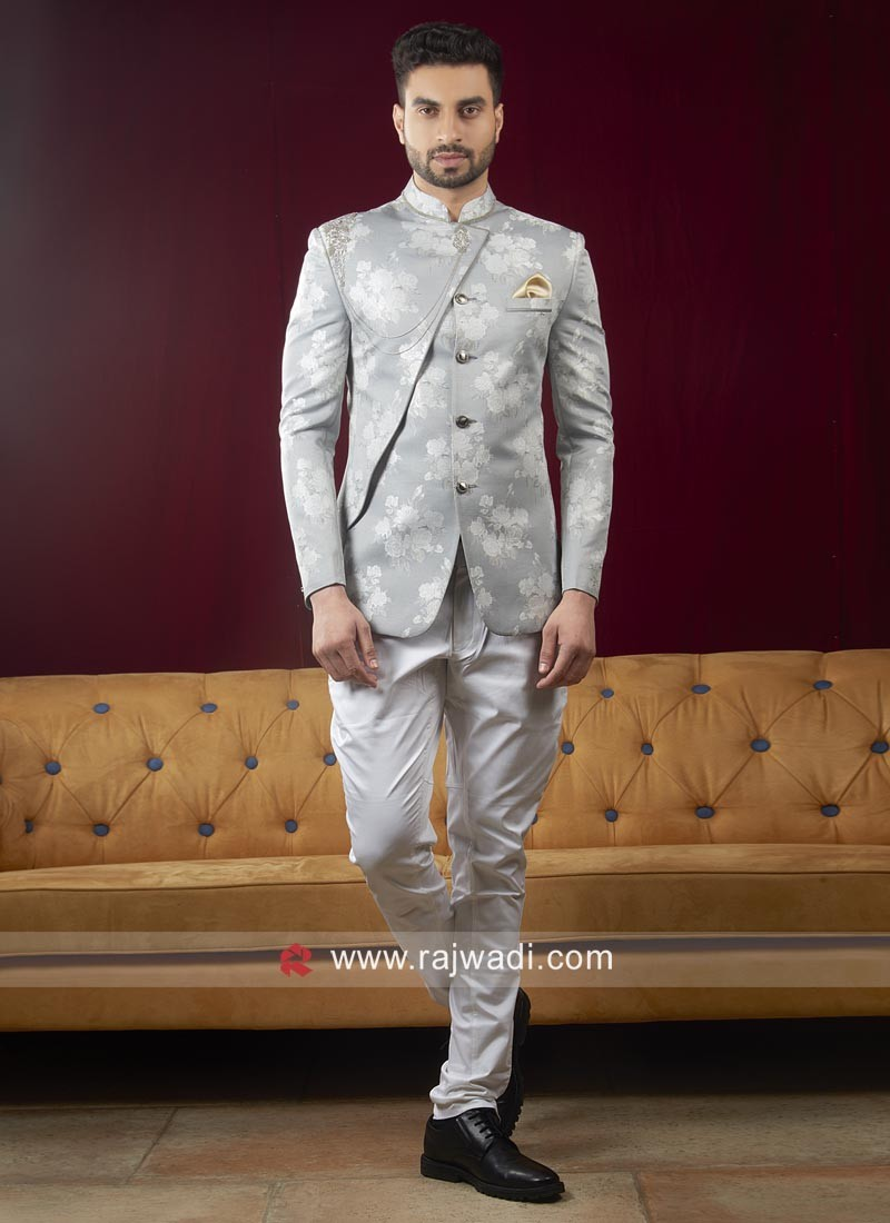 Stylish Flower Print Jodhpuri Suit