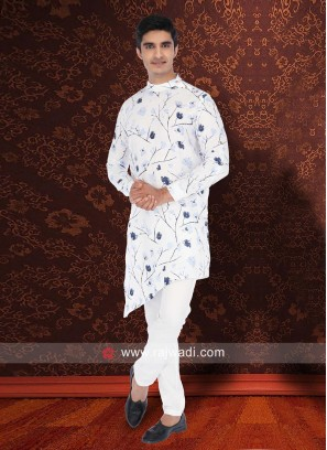 Stylish Flower Print Pathani Set