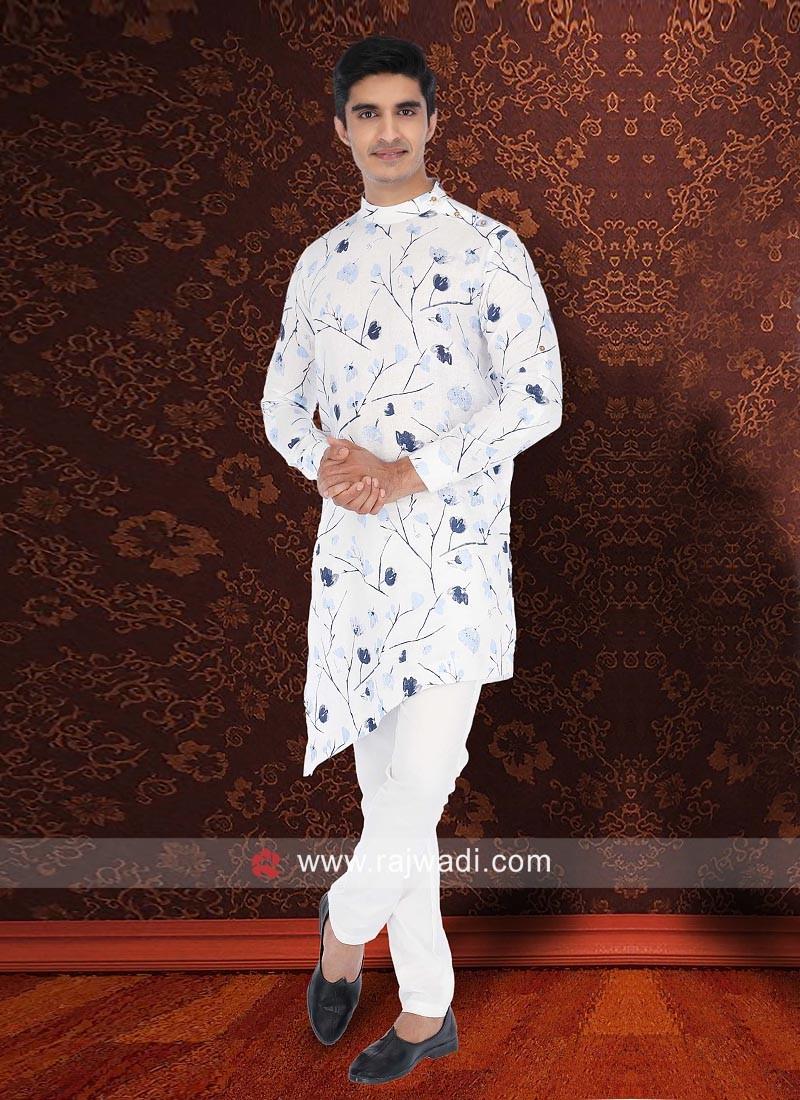 Stylish Flower Print Pathani Set