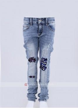 stylish frayed denim jeans on knee