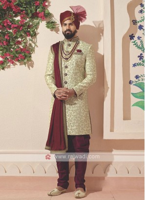 Stylish Golden And Maroon Colour Sherwani