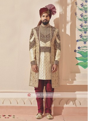 Stylish golden and maroon sherwani