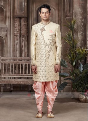 Stylish Golden And Peach Indo-western