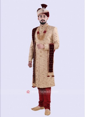 Stylish Golden And Red Colour Sherwani