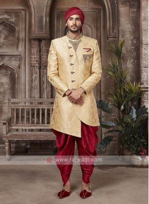 Stylish Golden And Red Sherwani