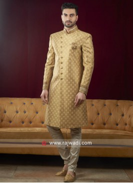 Stylish Golden Yellow Sherwani