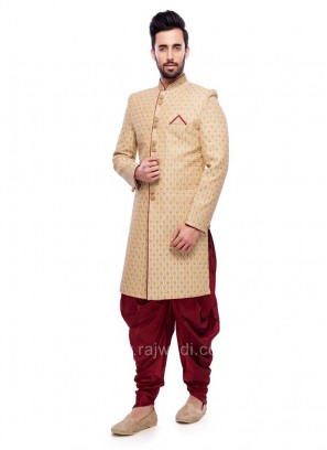 Stylish Golden Color Indo Western Sherwani