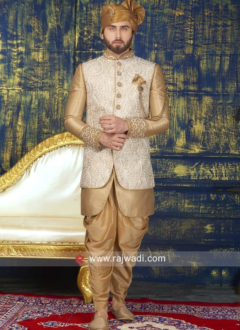 Stylish Golden Color Sherwani