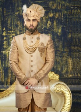Stylish Golden Color Wedding Indo Western