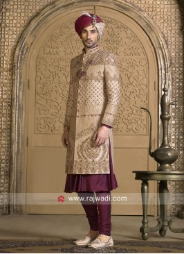 Stylish Golden Cream Wedding Sherwani