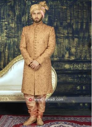 Stylish Golden Sherwani For Wedding