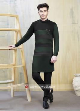 Stylish Green and Black Indo Western